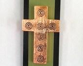 Green & Gold Leaf Wooden Cross Wall Art