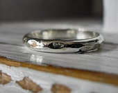 Mens Silver and 18K Hammered Vintage Style Wedding Band 3.5mm Width Hot Rox Wedding or Commitment Ring