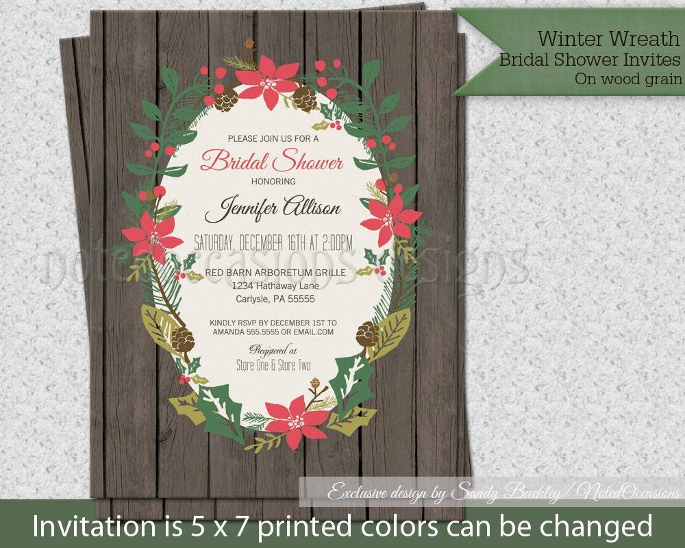 Winter Themed Wedding Invitations: Rustic Winter Bridal Shower Invitations Winter By