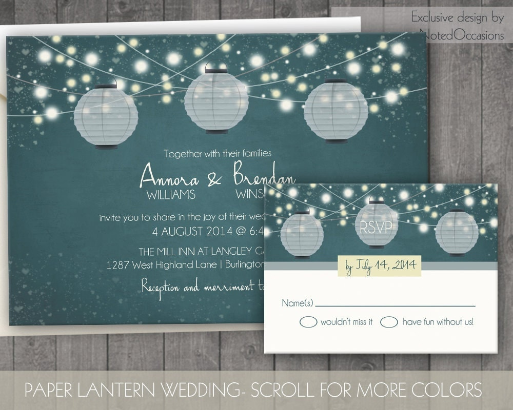 Outdoor Themed Wedding Invitations: Paper Lanterns Wedding Invitations- Rustic Country Wedding