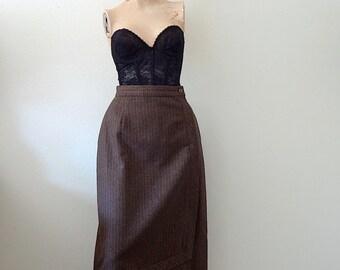 1980s A-Line Skirt / pinstripe wool skirt / vintage fall & winter fashion