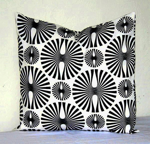 Black And White Geometric Throw Pillows : Black and White Modern Geometric Decorative Pillow by PatsTable