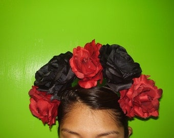 MARIA FELIX - Red And Black Rose Flower Tiara Headband, Frida Khalo Inspired, Gothic Wedding, Dia De Los Muertos,, and Hand Made