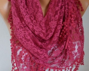 Cherry Lace Scarf,Wedding Shawl,Bohemian,Women Scarves,Cowl Bridal  Bridesmaid Gift Gift Ideas For Her, Women's Fashion Accessories
