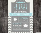 Bridal / Kitchen / Wedding shower invitation - chevron - Printed or DIY