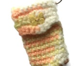 Tropical Peace  Keychain Pouch - Peach Yellow and White Sherbert - Item 1011
