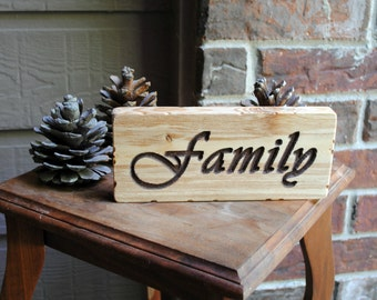 Family Carved Wooden Sign - Reclaimed Wood
