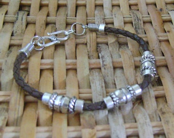 Men's Brown Beach Twisted Cord Silver Bracelet