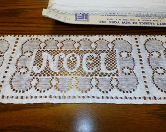 "Vintage Noel Lace Trim Yardage, Christmas, 8 1/2"" Wide, 35 Yards Available, Listing is for 6 Yard"