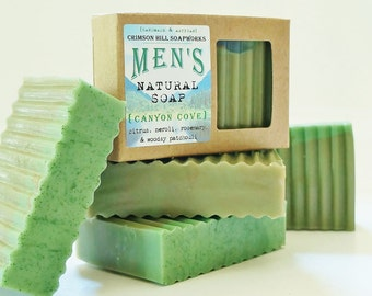 CANYON COVE Men's Soap - large 5.5 oz,, Citrus, Neroli, Rosemary, Patchouli scent, shea butter, mango butter, cocoa butter, vegan, natural