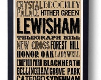 Lewisham  (Deptford, Blackheath etc) South London Typography Wall Art Poster
