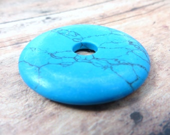 Simulated Turquoise Large 4mm Donut Stone Pendant for Jewelry Beads or Craft Designs