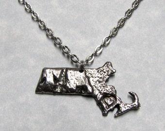 Love State Massachusetts Pendant Necklace