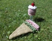 Ice Cream Sundae Cone Infant Portrait Set - size Newborn, 0-3 months or 3-6 months