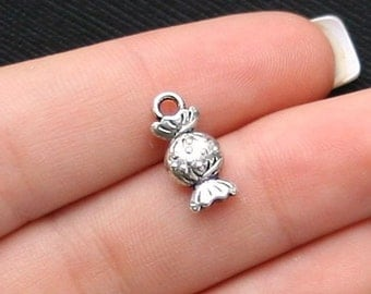 10 Candy Charms Antique Silver Tone 2 Sided - SC1531
