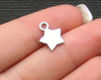 10 Star Charms Antique Silver Tone Classic and Elegant 2 Sided - SC1740