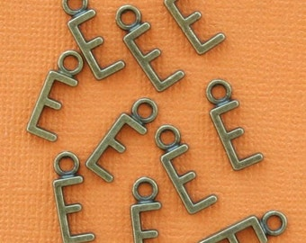 8 Letter E Alphabet Charms Antique Bronze Tone Great for So Many Projects - BC717