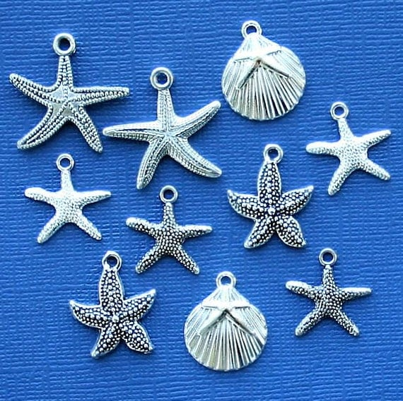 Starfish Charm Collection Antique Silver Tone 10 Charms - COL255