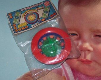 Big Time Roulette Dime Store Toy with Mistake on Package Made in Hong Kong