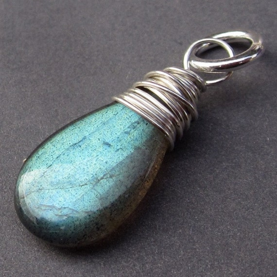 Labradorite Sterling Silver Wire Wrapped Briolette Pendant Dangle Charm with Jump Ring Stone 40