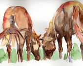 Two Hearts, two horses grazing in a watercolor painting