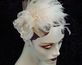 Ashley Bridal Feather Fascinator, Bridal Hair, Bridal Headpiece, 1920's Headpiece, Ostrich Feather Headpiece