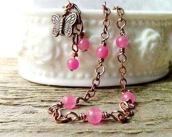 Pink Gemstone Anklet, Copper Butterfly Charm Anklet, Pink Agate, Feminine Spring Ankle Bracelet