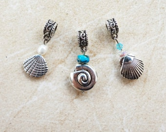 Set of Three Quality Shell Charms for European Bracelets, two-sided.