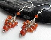 Orange Carnelian gemstone cluster earrings - Sterling silver - wire wrapped - ooak - orange stone earrings - handmade -