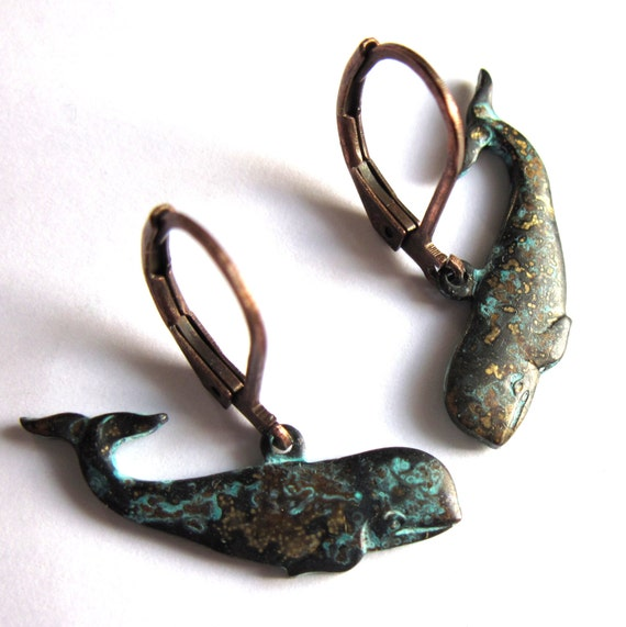 whale earrings verdigris patina fashion jewelry by
