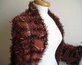 Brown Shrug, Free Form Knitting, New Season, Christmas gift   Winter Fashion,  Ready To Ship, Gift for Her