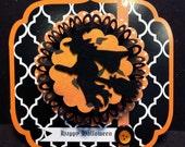 Halloween Card, Handmade Halloween Card, Flying Witch on Broom, Rosette