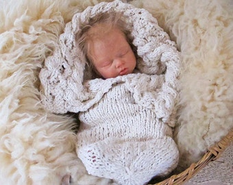 Large Print Pattern for the Heirloom Organic Cabled Baby Bunting Cocoon, Knitting