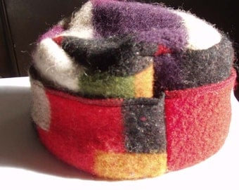 Felted Wool Sweater Hat; Made to Order, One Size Fits Most