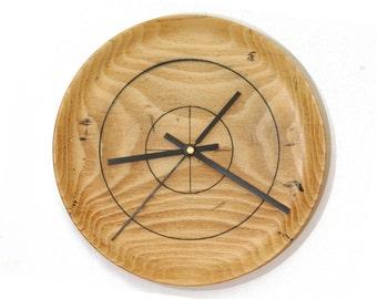 Wood Wall Clock, Wormy Beech Clock, Bullseye, Rustic Clock