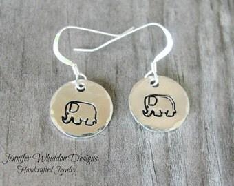 Elephant Earrings - Sterling Silver Elephant Earrings - Hand Stamped Earrings - Elephants