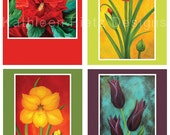 Set of 4 Floral Notecards featuring paintings by Kathleen Rietz