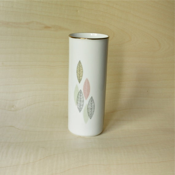 Mid Century Modern Porcelain Vase with Leaves Decals by Winterling 1940s