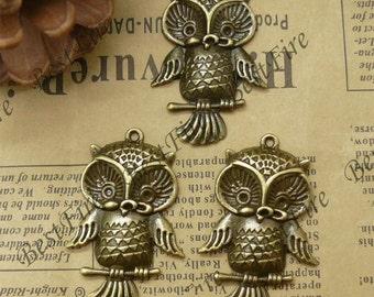 8PCS Of 27x42MM Antique Bronze Charm Pendant,metal finding,pendant beads,jewelry findings,owl,Bracelet Connectors