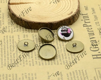 10pcs Antique Brass Pad  Round blank Base inside diameter 16mm,pendant base,fastener base,button base,bracelet findings