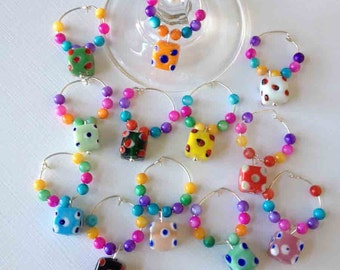 Just Reduced Again-12 Colorful Bunco Party Wine Charms