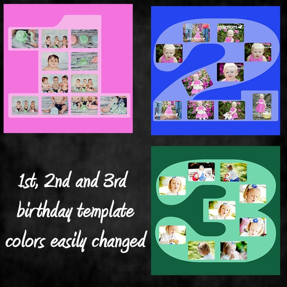 Square birthday number 1 2 3 template collage photographers for Photo collage number templates