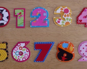 Layered Iron on Fabric Numbers - 2 piece, 3.5cm number appliques - made to order, choose your digits and fabrics - ships from UK