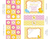 DIY -  Printable: Customized Rubber Ducky Girl Baby Shower - Set of 15 Items