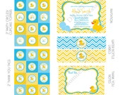 DIY -  Printable: Customized Rubber Ducky Boy Baby Shower - Set of 15 Items