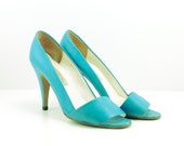 Vintage 70s Turquoise Sexy High Heel Leather Sandals Size 7.5 Made In Brazil