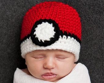 POKEMON POKEBALL Crochet Hat Baby Newborn 0 3 6 12 Months 1T 2T 3T 4T Child Teen Adult
