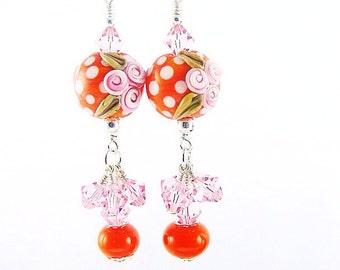 Flower Lampwork Earrings, Orange Polka Dot Statement Earrings, Pink Dangle Earrings, Glass Bead Earrings, Beadwork Earring, Lampwork Jewelry