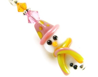 Snowman Pendant, Christmas Jewelry, White Glass Bead Pendant, Pink Lampwork Pendant, Christmas Pendant, Glass Bead Jewelry, Lampwork Jewelry