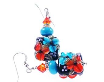 Colorful Lampwork Earrings, Glass Bead Earrings, Turquoise Orange Flower Earrings, Glass Bead Jewelry, Beadwork Earrings, Lampwork Jewelry